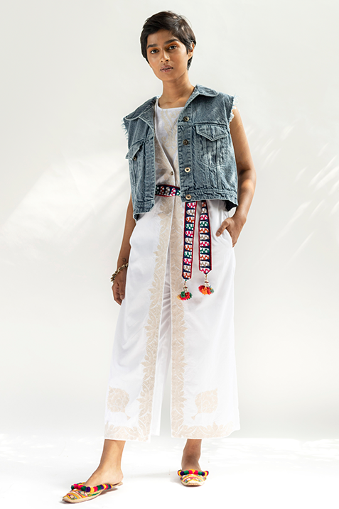 Ranjha Beaded Denim Jacket (Sleeveless)