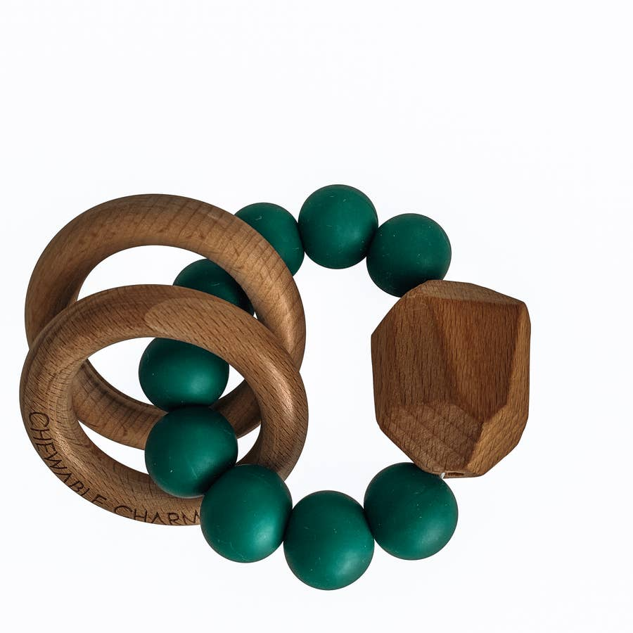 Hayes Silicone + Wood Teether - Peacock