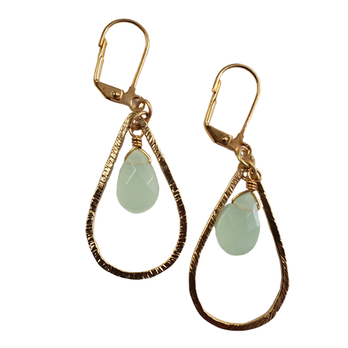 Brushed Gold Teardrop and Chalecdony Earring with Gold Plate
