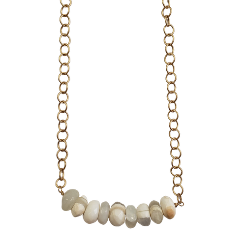 White Opal Bar Necklace with Gold Plated Chain