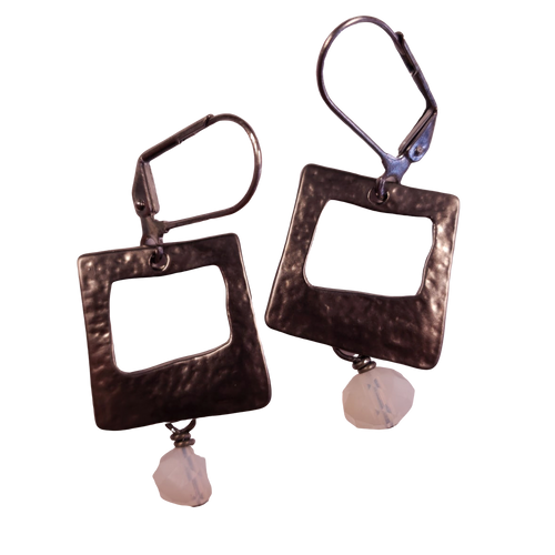 Gunmetal Square and Milk Glass Earring