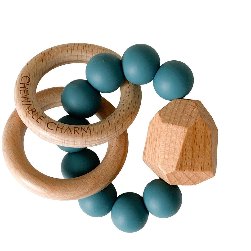Hayes Silicone + Wood Teether - Gypsy Teal