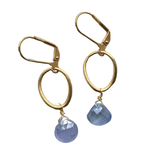 Gold Plate Oval and Blue Chalecdony Earring