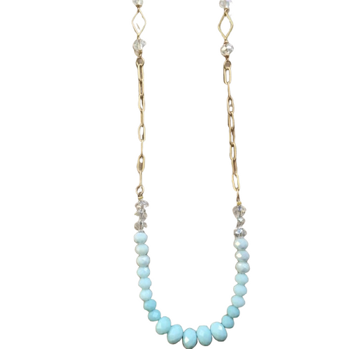 Blue and Aqua Glass Crystal Long Necklace