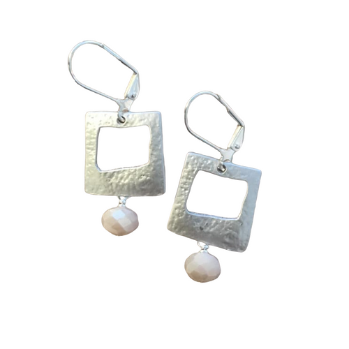 Silver Square and Pink Glass Earrings