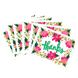 Floral Thanks 6 Card Set