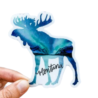 Montana Moose Northern Lights Sticker
