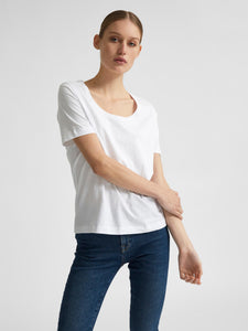Wide Neck T Shirt - White