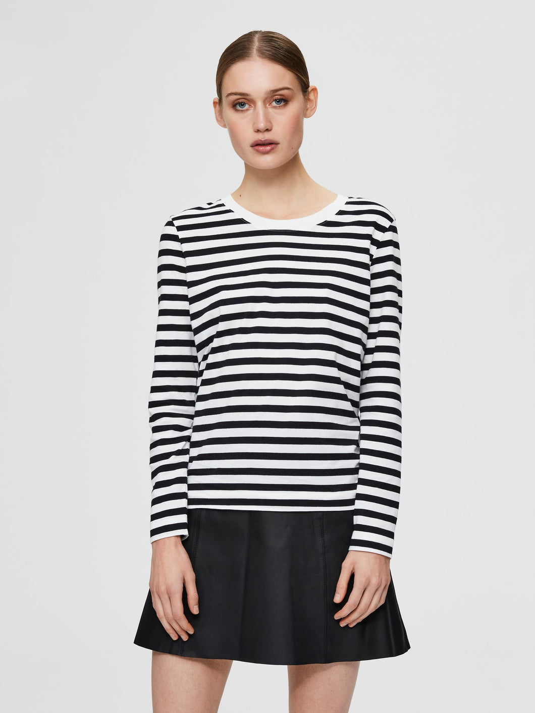 Striped Long Sleeved T Shirt - Black/White