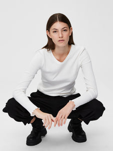 Ribbed Long Sleeve Top - White