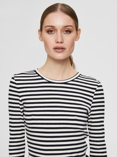 Ribbed Striped long Sleeve top Black/White