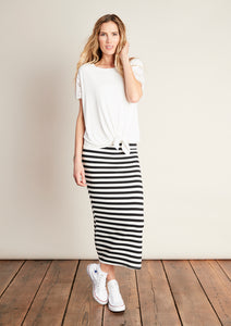 Hanna Cream/Black Stripe Midi Skirt