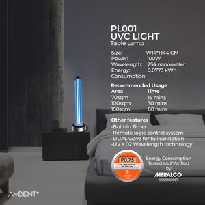 PL001 UVC Disinfectant Table Lamp
