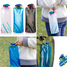 Load image into Gallery viewer, Portable Water Bottle Outdoor Travel Sport Kettle Cup Drink Bottle for Water 700 ml Reusable Folding Tritan Plastic Drinkware