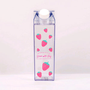 Portable Milk Box Water bottles Cute Cartoon Sakura Strawberry Outdoor Travel BPA Free Coffee Beer Drinkware