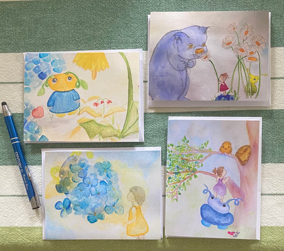 art card, artist illustrations, set of four