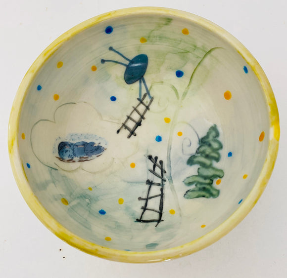 my imaginary world, illustrated bowl,