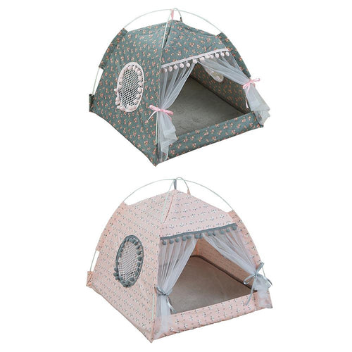 NEW Pet Cat Tent House Kennel Universal Canvas Soft Breathable Indoor Tents Bed Removable Washable Pet Nest For Small Dog cats