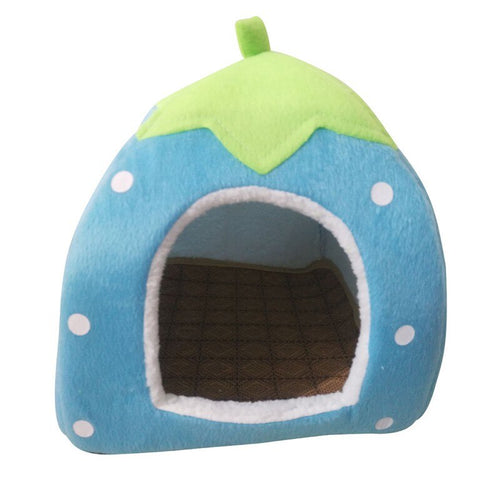 Foldable Cat Dog Kennel Warm Cushion Strawberry Shape Sponge Pet House Dog Nest With Summer Mat