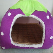 Load image into Gallery viewer, Foldable Cat Dog Kennel Warm Cushion Strawberry Shape Sponge Pet House Dog Nest With Summer Mat