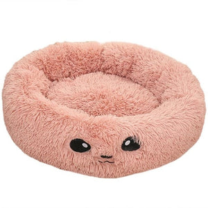 Round Plush Cat Bed Long Plush Super Soft Dog Bed For Small Dogs Cats Nest Winter Warm Sleeping Bed Lounger Cat House Puppy Mat