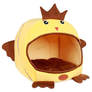 Winter Dog House Warm Cat House Sofas Cartoon Aircraft Chick Shape Pet House Nest Cat Tunnel Bed Windproof Pet Bed Kenel