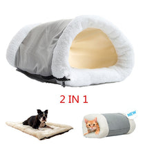Load image into Gallery viewer, Winter Warm Puppy Sleeping Nest Mats 2 in 1 Pet Bed House for Small Dogs Mat Cat Tunnel Soft Zipper Dog Cushion Pad Pet Products