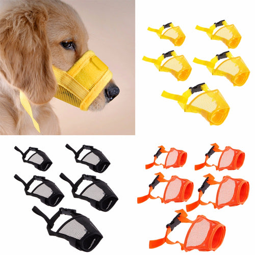 Pet Dog Adjustable Mask No Barking Mesh Mouth Muzzle Anti Bite Stop Chewing for Small Large Dog Training Pet Accessories C42