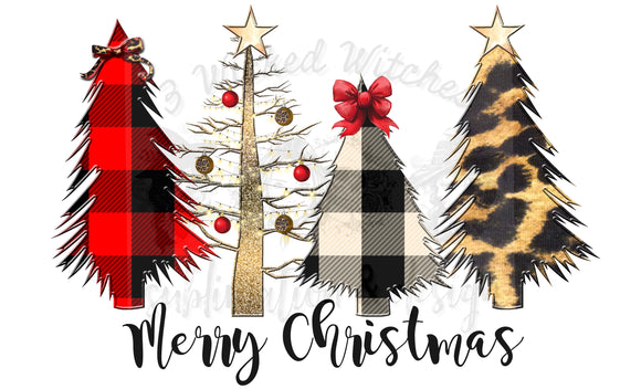 Leopard Plaid Christmas Trees Merry Christmas