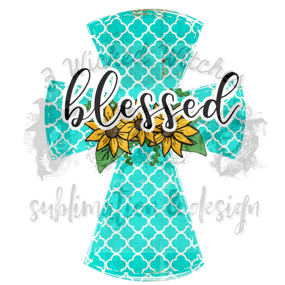 Sunflower Turquoise Cross
