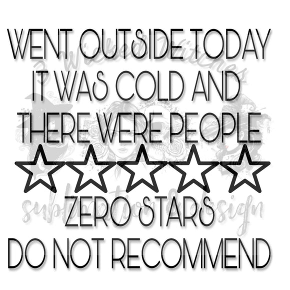 Went Outside, Zero Stars