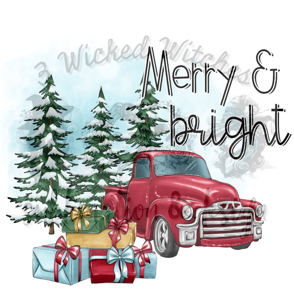 Merry and Bright Red Vintage Truck
