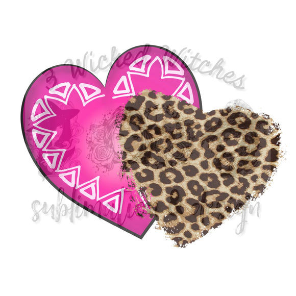 Pink and Cheetah Hearts no words