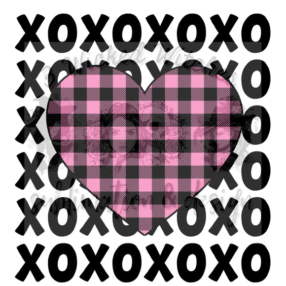 Xoxo Pink Plaid Heart