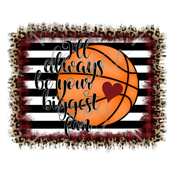 Biggest Fan Basketball Maroon White Black Love