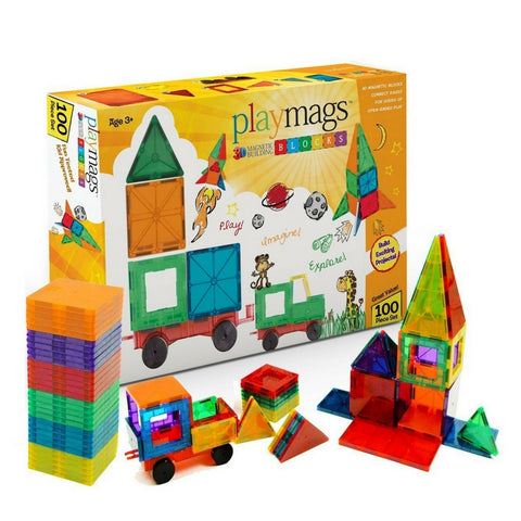 Playmags 100 Piece Set Magnetic Tiles Australia | KidzInc