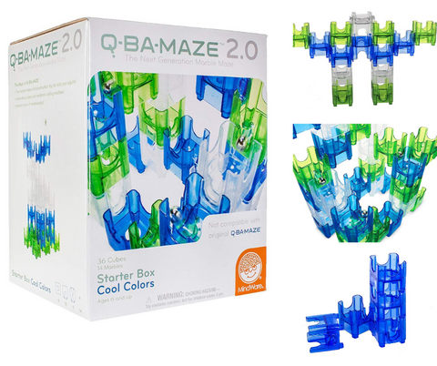 Mindware Q-BA-Maze 2.0 Starter Box Cool Colours Marble Run Set | KidzInc Australia