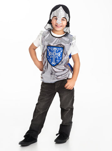 Little Adventures Blue Crusader Vest and Silver Helmet