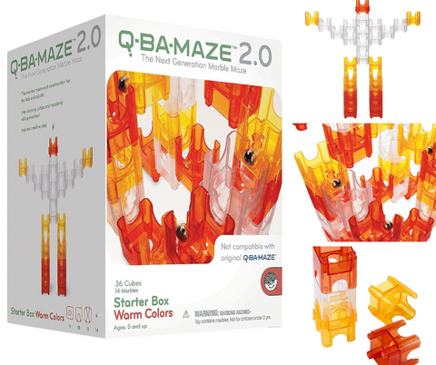 Mindware Q-BA-Maze 2.0 Starter Box Warm Colours Marble Run Set | KidzInc Australia