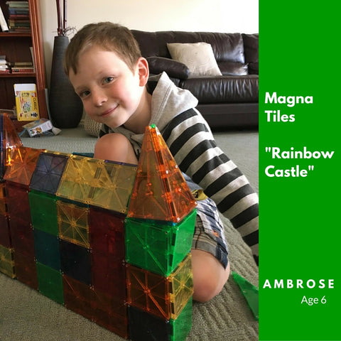 Ambrose Amazing Rainbow Castle Creation using two sets of 100 piece Magna Tiles