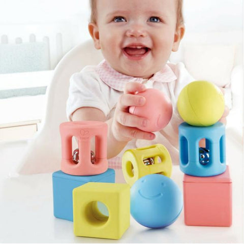 Hape Geometric Rattle Trio 9 Pieces | Baby Toys | KidzInc Australia | Online Educational Toys