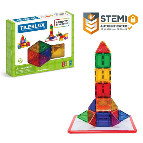Tileblox Rainbow 30 Piece Set  Magnetic Tiles by Magformers | KidzInc Australia