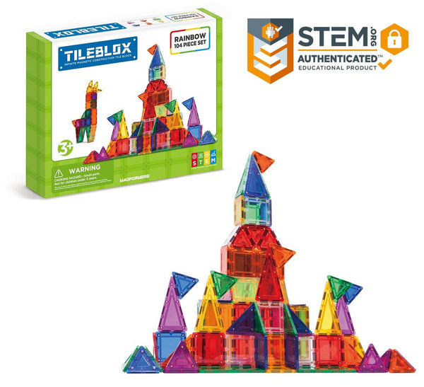 Tileblox Rainbow 104 Piece Set | Magnetic Tile Construction | KidzInc Australia 1