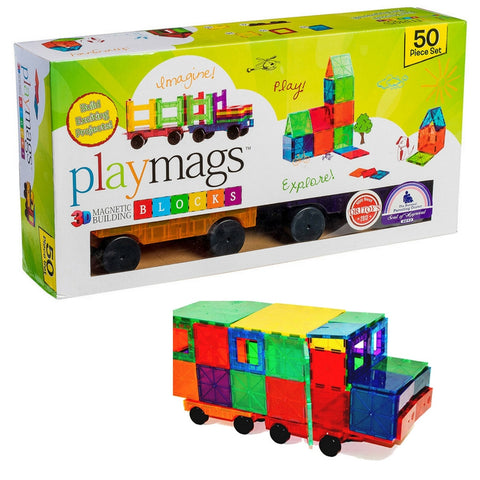 Playmags - Magnetic Tile Clear Colours 50 Pieces 4 Cars | KidzInc Australia | Online Educational Toy Store