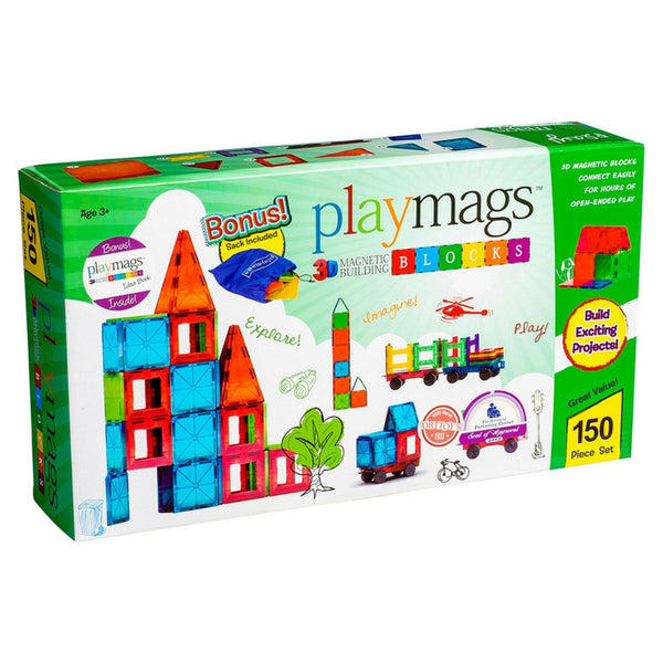 Playmags - Magnetic Tile Clear Colours 150 Piece | KidzInc Australia | Online Educational Toy Store