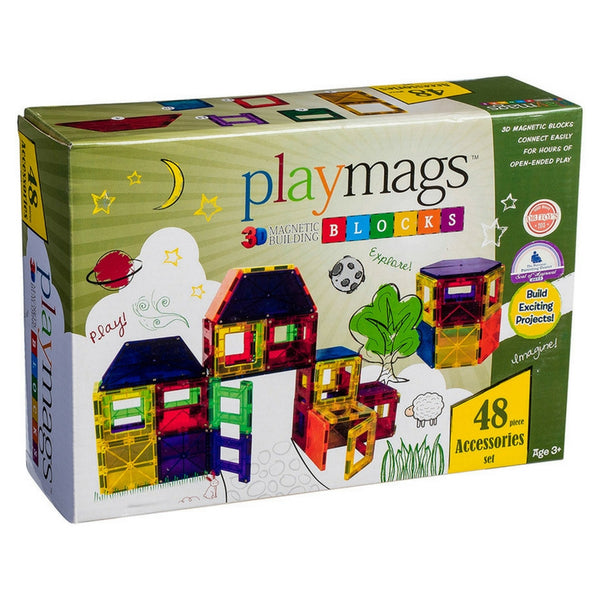 Playmags - Magnetic Tile Clear Colours 48 Piece Accessory Pack | KidzInc Australia | Online Educational Toy Store