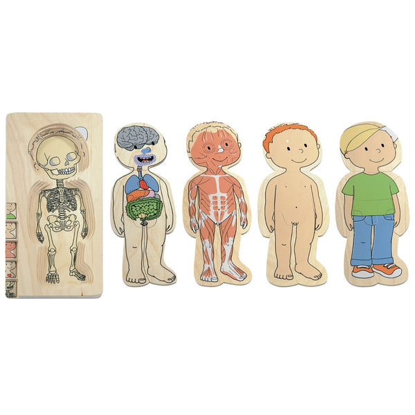 Beleduc - Your Body Boy 5 Layer Wooden Puzzle | KidzInc Australia | Online Educational Toy Store
