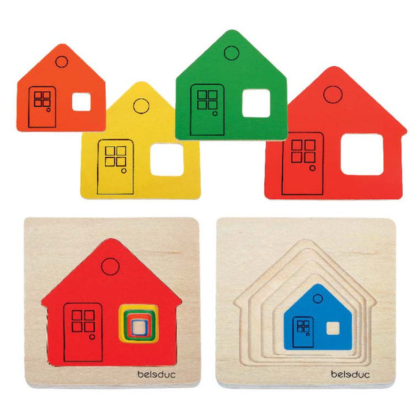 Beleduc - Little House Layer Tray Puzzle | KidzInc Australia | Online Educational Toy Store