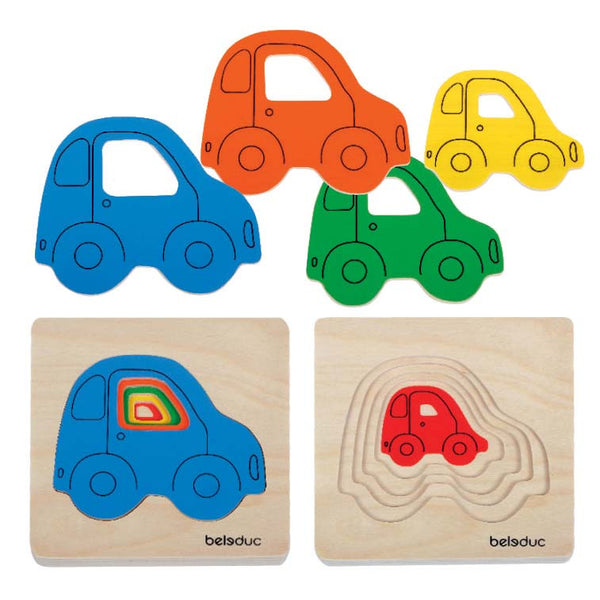Beleduc - Car Layer Tray Puzzle | KidzInc Australia | Online Educational Toy Store