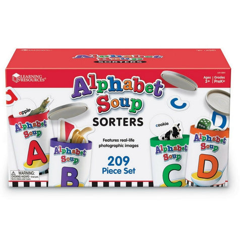 Learning Resources - Alphabet Soup Sorter Cans Set of 26 | KidzInc Australia | Online Educational Toy Store